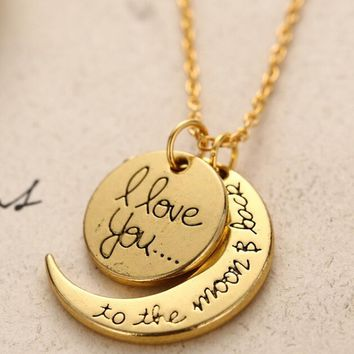 LNRRABC New  Long Ladies Necklaces Gold Silver Color Letter I Love You Pendant Necklace Charm Women Jewelry Valentine's DayGift