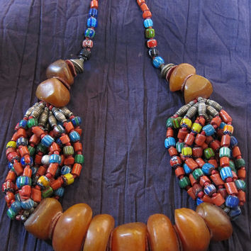 Berber Necklace with Faux Amber Beads, Chunky Honey Resin & Colorful Chevron Beads,  Moroccan Sahara