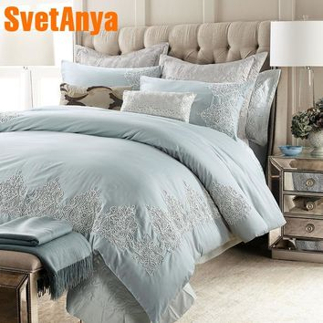 Svetanya Embroidery Bedding Kit Sanded Cotton Bedlinen Queen King Size Luxury bedsheet Pillowcases Duvet Cover Sets