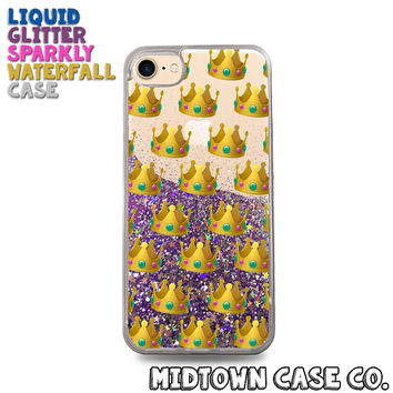 Crown Emoji Pattern Cute Princess Queen Kween Liquid Glitter Waterfall Quicksand Sparkles Glitter Bomb Bling Case for iPhone 7 7 Plus 6s 6