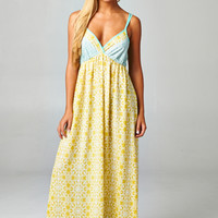 Love Stitch-In Search Of Love Maxi Dress-Mint/Yellow
