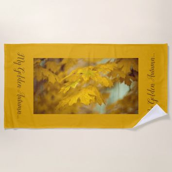 Yellow autumn maple leaves. Add text. Beach Towel