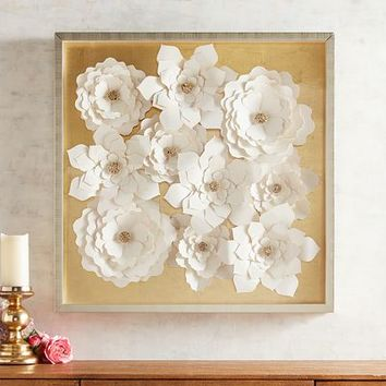 Paper Flowers Shadowbox Art