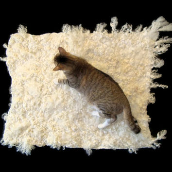 Wool Cat Bed - Cruelty Free Felted Fleece Pet Rug - Lincoln Longwool - Supporting Small US Farms - Ready to Ship