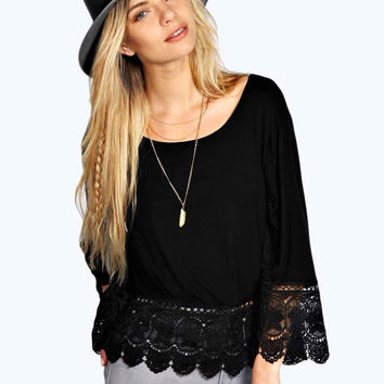Long Sleeve Insert Lace Knitted Blouse