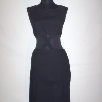 1990s Black Dress Bodycon Cut Out Dress