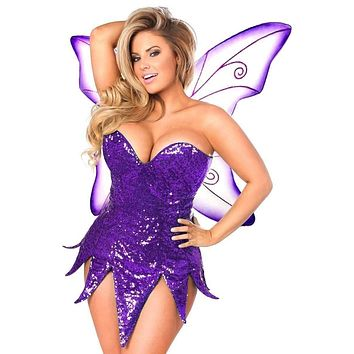 Daisy Top Drawer Purple Sequin Fairy Corset Dress Costume