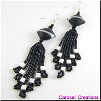Beadwork Seed Bead Earrings Dangle Chandeliers in Black and White