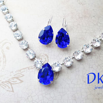 Beautiful Majestic Blue Pear, Swarovski Bridal Necklace, Crystal, 18x13, 8mm, Adjustable, DKSJewelrydesigns, FREE SHIPPING