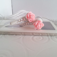 Cute Mini Pink Rose Earbuds with Swarovski Crystals