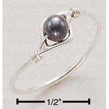 Sterling Silver Ring:  Hematite Bead Wire Ring