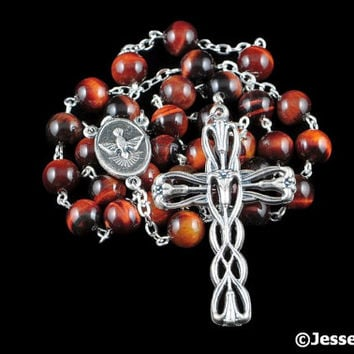 Anglican Rosary Beads Red Black Brown Red Tiger Eye Natural Stone Prayer Beads Silver Christian Episcopal