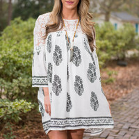 Fresh Start Dress, Ivory-Black