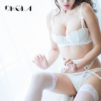 Half Cup women sexy bra set Plus Size D underwear thin cotton red lace Bras and Panties Set White brassiere embroidery lingerie
