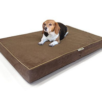 "Large Dog Bed Premium Solid Memory Foam Pet Bed / Dog Mat with Waterproof Cover | Color: Chocolate , Size: 36""x28""x4"""