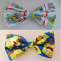 Spongebob hair bow set / Spongebob hair bow / Spongebob fabric bow / Spongebob Hair clip / Spongebob square pants / Spongebob hair clip set