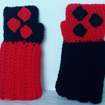 Harley Quinn Inspired Crochet Fingerless Gloves