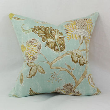 "Spa blue floral decorative throw pillow cover. 20"" x 20"" pillow cover. Waverly Asian Myth pillow cover"