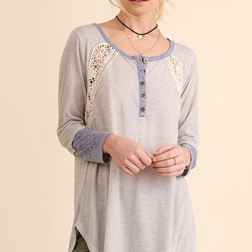 Long Sleeve Henley with Crochet Accents