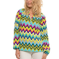 """Chevron"" Printed Blouse **XS ONLY**"