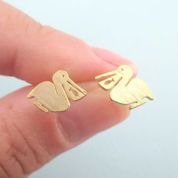 Small Pelican Silhouette with Fish Cut Out Shaped Stud Earrings in Gold | Allergy Free