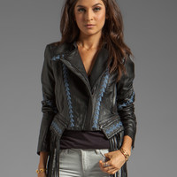 BCBGMAXAZRIA Grant Fringe Leather Jacket in Black