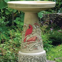 Cardinal Birds Handcrafted Clay Birdbath Set