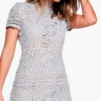 Boutique Sara Crochet Lace Bodycon Dress | Boohoo