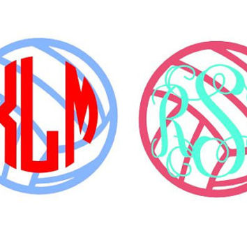 5-inch Volleyball Monogram 2-Color Car Sticker Decal