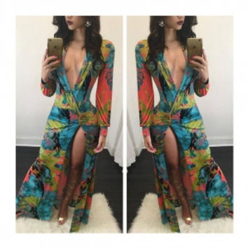 Multicolor V-Neck Printed Long Sleeve Twist Maxi Dress