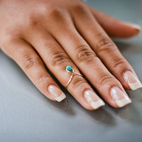 Turquoise Bead Knuckle Ring (mid finger ring / midi ring)