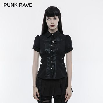 PUNK RAVE Steampunk Summer Handsome Personality Short Sleeve Women Shirt Vintage Elastic Waist Adjustable Cuff Black Blouses