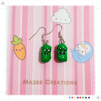Polymer Clay Pickle Earrings Kawaii