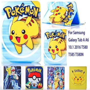 Case For Samsung Galaxy Tab A A6 10.1 2016 T580 T585 T580N case  Go cute Pikachu tablet Cover Flip stand shell coque paraKawaii Pokemon go  AT_89_9