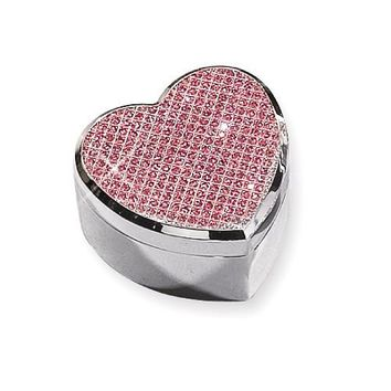 Silver-Plated Pink Glitter Heart Jewelry Box
