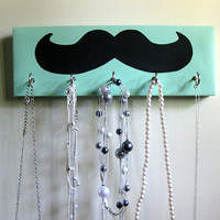 Mustache Jewelry Holder and Key Rack   Black by ElegantQuirk