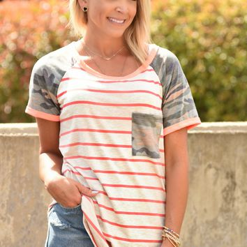 Casual Chic Striped Top - Camo