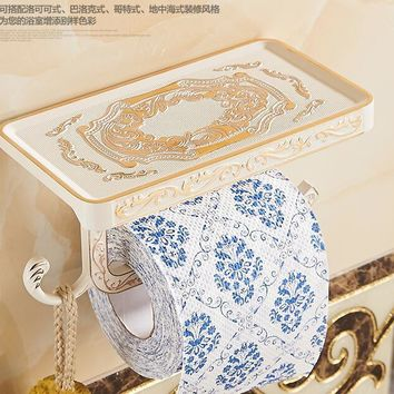 Bathroom paper holder with hook bathroom shelf wall paper hangs paper towel holder Archaize waterproof toilet paper holder