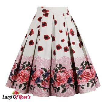 Plus Size High Waist Vitage Skirts 13 Colors Back Zipper Swing Retro Skirts Office Lady Work Daily Skirts