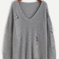 Trendy Ripped Grey V Neck Sweater