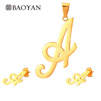 Unique Design Letter Earring Pendant 18k Gold Plated Jewelry Sets For Women Girl Stainless Steel Jewellery Set  Factory Price