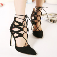 Fashion Shallow Mouth Hollow Cross Straps Pointed Shoes Women Heels Shoes Sandals
