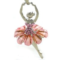 Light Peach Pink Dancing Ballerina Necklace Dancer Dance Pendant Charm Designer Fashion Jewelry