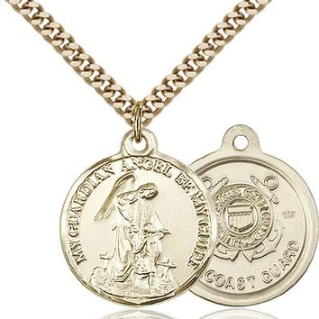 14K Gold Filled Guardain Angel Coast Guard Military Catholic Medal Necklace 617759783384