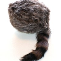 Davey Crockett Coonskin Cap Real Fur Tail Racoon Coon Mountain Men Hat Boone Dye