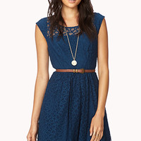 Ditsy Lace Fit & Flare Dress | FOREVER 21 - 2027704310