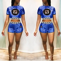Fendi Fashion New Summer Sequin Letter Sports Leisure Personality Two Piece Suit Top And Shorts Blue