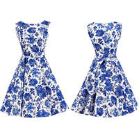 Vintage Floral Printing Pleated A-line Dress