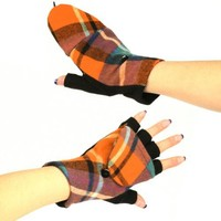 Winter Wool Plaid Flip Top Fingerless Snug Gloves Orange