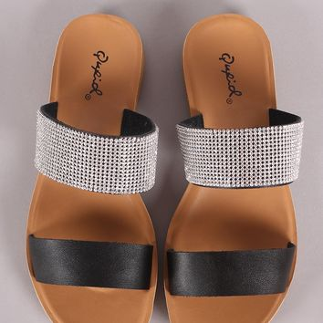 Qupid Open Toe Rhinestone Band Slide Sandal